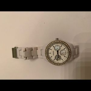 White plastic fossil watch